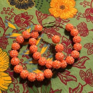 Bright Orange Hoop Sparkly Earrings